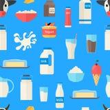 Karikatur-Farbmilchprodukt-nahtloser Muster-Hintergrund Vektor Stock Abbildung