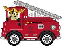 Karikatur-Feuerwehrmann-Giraffe vektor abbildung