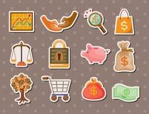 Karikatur-Finanz- u. Geldaufkleber Stockfotografie