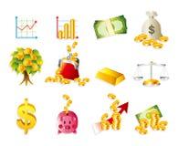 Karikatur-Finanzierung u. Geld-Ikonenset Stockbilder