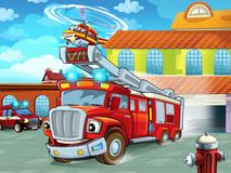 Karikatur Firetruckverjagen der Feuerwache zur Aktion mit anderen verschiedenen Feuerwehrmannfahrzeugen stockfoto