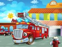 Karikatur Firetruckverjagen der Feuerwache zur Aktion mit anderen verschiedenen Feuerwehrmannfahrzeugen lizenzfreie stockfotografie