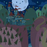 Karikatur-flaches Schloss auf einem Hügel nachts Stockbild