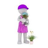 Karikatur-Florist Holding Glass Vase von blauen Rosen Stockfoto