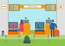 Karikatur-Flughafen überprüfen herein Vektor Lizenzfreie Stockfotos