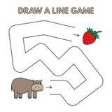 Karikatur-Flusspferd zeichnen eine Linie Spiel für Kinder vektor abbildung