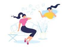 Karikatur-Frauen-Gesprächs-Handy zu Hause Sit Sofa stock abbildung