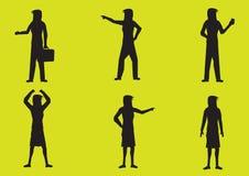 Karikatur-Frauen-Schattenbild-Vektor-Illustration Stockfotografie