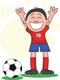 Karikatur-Fußball-Spieler glücklich Lizenzfreie Stockfotos