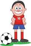 Karikatur-Fußball-Spieler glücklich und Lächeln Lizenzfreie Stockfotografie