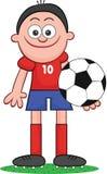 Karikatur-Fußball-Spieler-Holding Stockfotografie