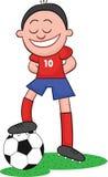 Karikatur-Fußball-Spieler mit Ball Stockfoto
