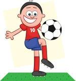 Karikatur-Fußball-Spieler-Spielen Lizenzfreies Stockbild