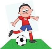 Karikatur-Fußball-Spieler-Tritt Lizenzfreie Stockfotos