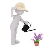 Karikatur-Gärtner Watering Potted Flowers mit Dose Lizenzfreies Stockfoto