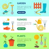 Karikatur-Gartenarbeit-Ausrüstungs-Fahnen-horizontaler Satz Vektor Lizenzfreies Stockfoto