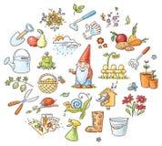 Karikatur-Gartenarbeitsatz lizenzfreie abbildung