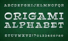 Karikatur gefaltete Art Weißbuchguß Buchstaben und Zahlen des Origamis 3d Retro- Alphabet des Vektors Stockfotos