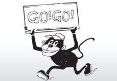 Karikatur gehen gehen Zeichen Lizenzfreies Stockfoto