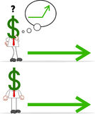 Karikatur-Geld-Kopf-Geschäftsmann Stockbild
