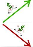 Karikatur-Geld-Kopf-Geschäftsmann Stockfoto
