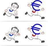 Karikatur-Geld-Kopf-Geschäftsmann Lizenzfreie Stockbilder