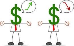 Karikatur-Geld-Kopf-Geschäftsmann Lizenzfreie Stockfotos
