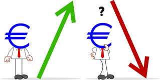 Karikatur-Geld-Kopf-Geschäftsmann With Arrow Stockfoto