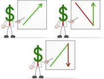Karikatur-Geld-Kopf-Geschäftsmann With Charts Stockbild