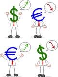Karikatur-Geld-Kopf-Geschäftsmann Pair Stockfotografie