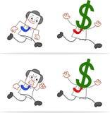 Karikatur-Geld-Kopf-Geschäftsmann Running Lizenzfreie Stockfotografie
