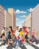 Karikatur-Geschäftsleute, die eine im Stadtzentrum gelegene Straße kreuzen Lizenzfreie Stockbilder