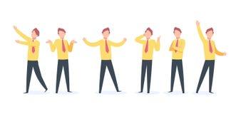 Karikatur-Geschäftsmann Character Glücklicher Geschäftskerlfliegen-Laufsprung, flache Schattenbildfreude des Verkäufers und verär vektor abbildung