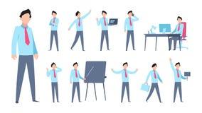 Karikatur-Geschäftsmann Character Unternehmensangestellter der flachen Büropersonenberufsgeschäfts-Arbeitskraft Karikaturmanagerh vektor abbildung