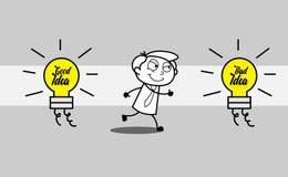 Karikatur-Geschäftsmann Choose eine schlechte Idee lizenzfreie abbildung