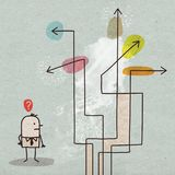 Karikatur-Geschäftsmann Choosing eine Richtung lizenzfreie abbildung