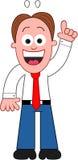 Karikatur-Geschäftsmann With eine Idee. Stockfoto