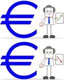 Karikatur-Geschäftsmann With Euro Value auf und ab Lizenzfreie Stockbilder