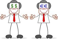 Karikatur-Geschäftsmann-Greedy With Money-Augen Stockbilder