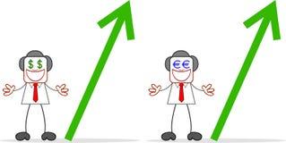 Karikatur-Geschäftsmann-Greedy With Money-Augen Lizenzfreie Stockfotografie
