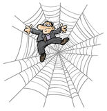 Karikatur-Geschäftsmann im Spinnennetz. Stockbilder