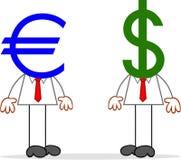 Karikatur-Geschäftsmann Pair With Euro und Dollar-Köpfe. Lizenzfreies Stockbild