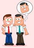 Karikatur-Geschäftsmann Pair. Mit ihren Armen um jeder des anderen SH Stockfotografie