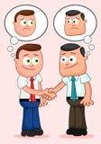 Karikatur-Geschäftsmann Pair. Rütteln von Händen und Denken des unglücklichen tho Lizenzfreie Stockfotografie