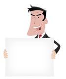 Karikatur-Geschäftsmann-Reklameanzeige-Zeichen Lizenzfreies Stockfoto