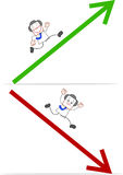Karikatur-Geschäftsmann Running und Fallen Lizenzfreie Stockfotos