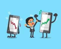 Karikatur Geschäftsmann und Smartphones mit Börsepfeilen vektor abbildung