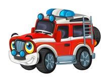 Karikatur glücklich und lustig weg vom Straßenfeuerwehrmann-LKW/von lächelndem Fahrzeug lizenzfreie abbildung
