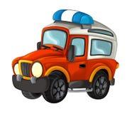 Karikatur glücklich und lustig weg vom Straßenlöschfahrzeug/vom Fahrzeug vektor abbildung