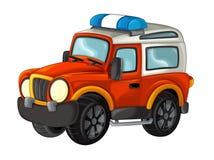 Karikatur glücklich und lustig weg vom Straßenlöschfahrzeug/vom Fahrzeug stock abbildung